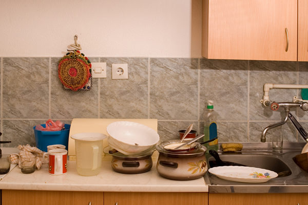 dishes piled high